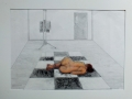 The Studio, pencil and pastels 59x79cms