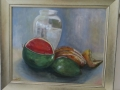 Still Life With Melon 61x72cms ,framed , oils